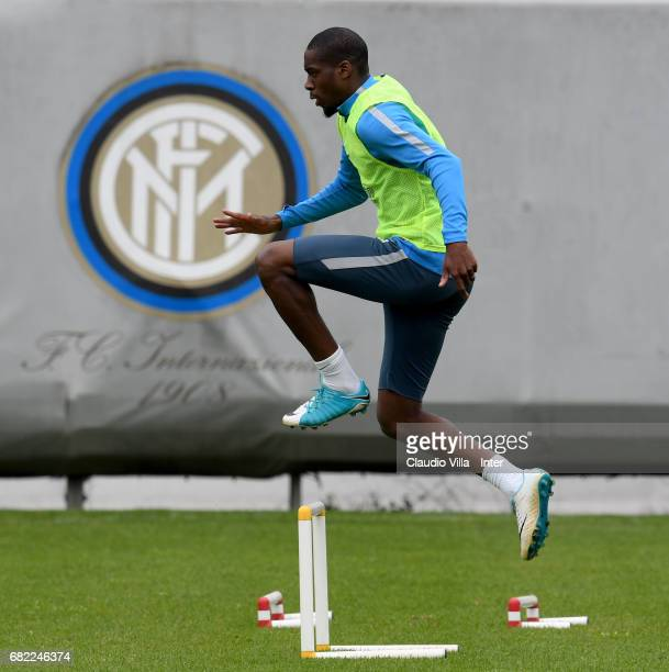 Geoffrey Kondogbia of FC Internazionale in action during FC Internazionale training session at Suning Training Center at Appiano Gentile on May 12...
