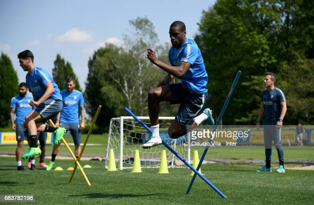 Geoffrey Kondogbia of FC Internazionale in action during FC Internazionale training session at Suning Training Center at Appiano Gentile on May 16...