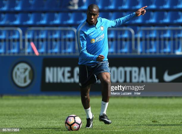 Geoffrey Kondogbia of FC Internazionale in action during the FC Internazionale training session at the club's training ground Suning Training Center...