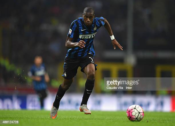Geoffrey Kondogbia of FC Internazionale in action during the Serie A match between FC Internazionale Milano and AC Milan at Stadio Giuseppe Meazza on...