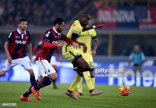 Geoffrey Kondogbia of FC Internazionale in action during the Serie A match between Bologna FC and FC Internazionale Milano at Stadio Renato Dall'Ara...