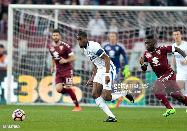 Geoffrey Kondogbia of FC Internazionale in action during the Serie A match between FC Torino and FC Internazionale at Stadio Olimpico di Torino on...