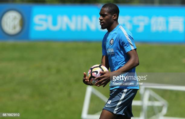 Geoffrey Kondogbia of FC Internazionale looks on during the FC Internazionale training session at the club's training ground Suning Training Center...