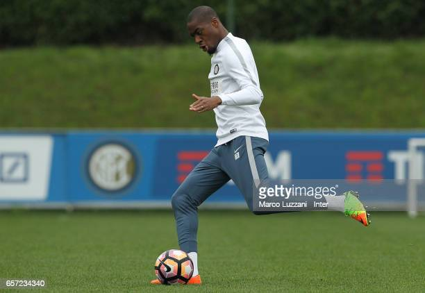 Geoffrey Kondogbia of FC Internazionale Milano in action during the FC Internazionale training session at the club's training ground Suning Training...