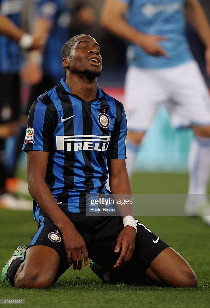 Geoffrey Kondogbia of FC Internazionale Milano reacts during the Serie A match between SS Lazio and FC Internazionale Milano at Stadio Olimpico on May 1, 2016 in Rome, Italy.