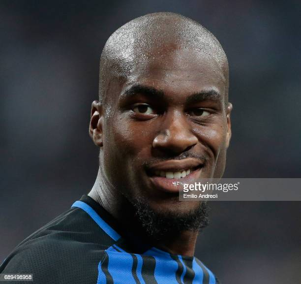 Geoffrey Kondogbia of FC Internazionale Milano smiles during the Serie A match between FC Internazionale and Udinese Calcio at Stadio Giuseppe Meazza...