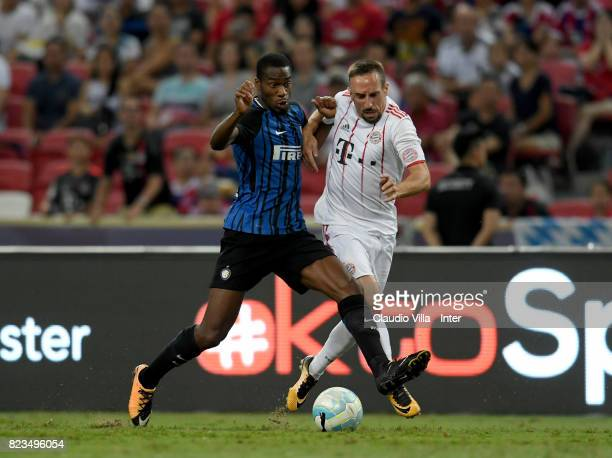 Geoffrey Kondogbia of FC Internazionale of FC Internazionale and Franck Ribery of Bayern compete for the ball during the International Champions Cup...