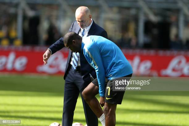 Geoffrey Kondogbia of FC Internazionale receives instructions from his coach Stefano Pioli of FC Internazionale during the Serie A match between FC...