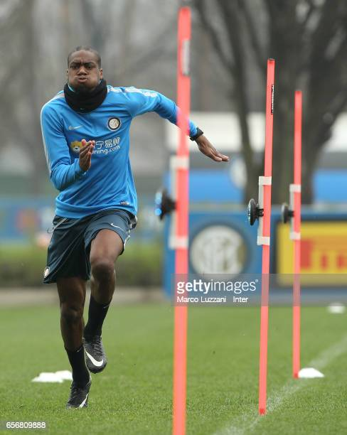 Geoffrey Kondogbia of FC Internazionale runs during the FC Internazionale training session at the club's training ground Suning Training Center in...