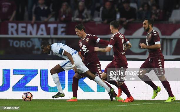 Geoffrey Kondogbia of FC Internazionale scores the opening goal during the Serie A match between FC Torino and FC Internazionale at Stadio Olimpico...