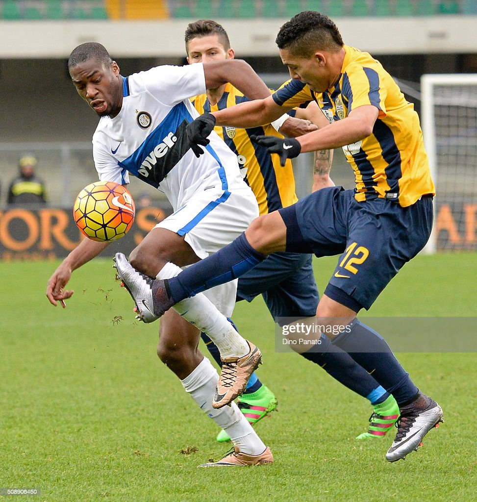 <a gi-track='captionPersonalityLinkClicked' href=/galleries/search?phrase=Geoffrey+Kondogbia&family=editorial&specificpeople=7552237 ng-click='$event.stopPropagation()'>Geoffrey Kondogbia</a> (L) of Internazionale Milano competes with Gilberto Moeas of Hellas Verona during the Serie A match between Hellas Verona FC and FC Internazionale Milano at Stadio Marc'Antonio Bentegodi on February 7, 2016 in Verona, Italy.