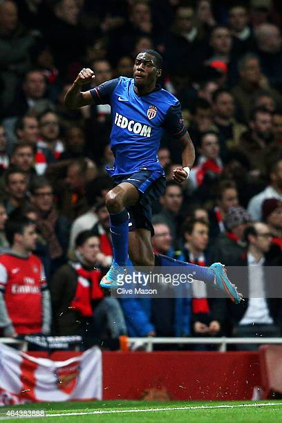 Geoffrey Kondogbia of Monaco celebates after scoring the opening goal during the UEFA Champions League round of 16 first leg match between Arsenal...
