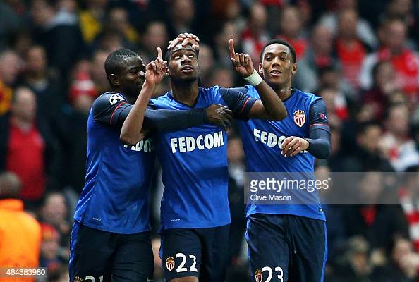 Geoffrey Kondogbia of Monaco celebates with teammates after scoring the opening goal during the UEFA Champions League round of 16 first leg match...