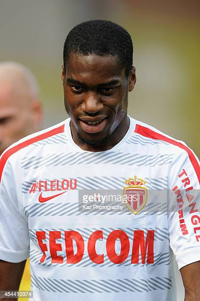 Geoffrey Kondogbia of Monaco warms up prior to the French Ligue 1 match between AS Monaco FC and LOSC Lille at Louis II Stadium on August 30 2014 in...