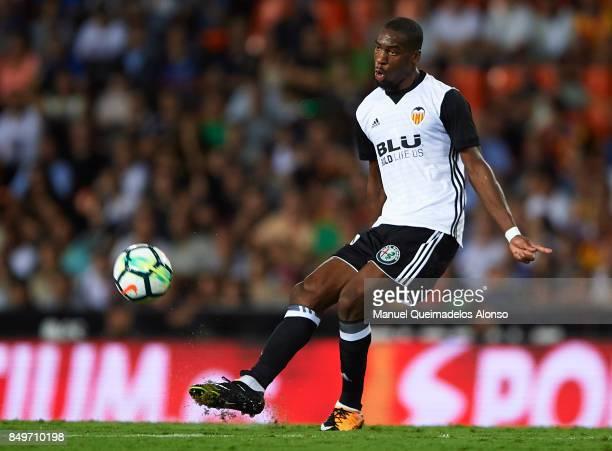 Geoffrey Kondogbia of Valencia in action during the La Liga match between Valencia and Malaga at Estadio Mestalla on September 19 2017 in Valencia...