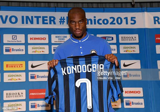 Geoffrey Kondogbia poses for a photo during a press conference at Riscone di Brunico on July 10 2015 in Bruneck Italy
