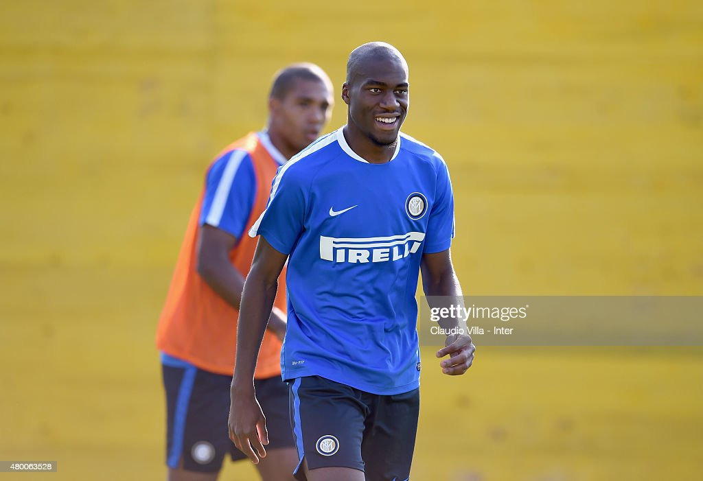 Geoffrey Kondogbia smiles during FC Internazionale training session at Riscone di Brunico on July 9, 2015 in Bruneck, Italy.