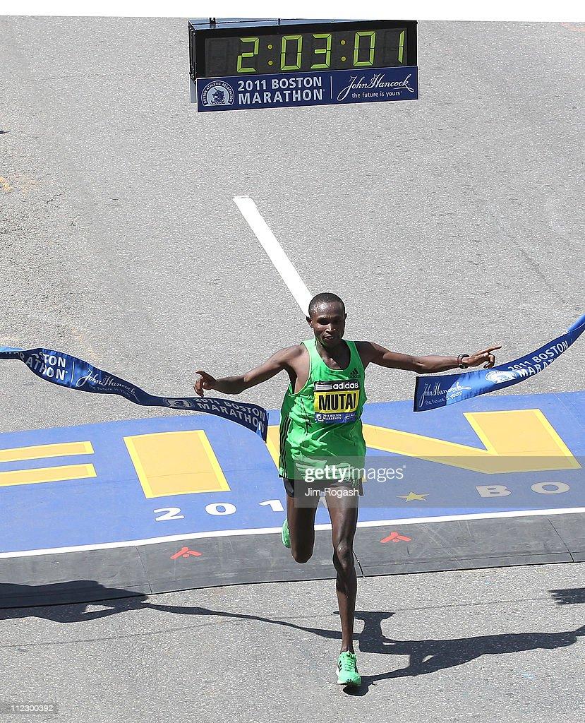 Geoffrey Mutai #2 of Kenya wins the men's division of the 115th running of the Boston Marathon on April 18, 2011 in Boston, Massachusetts.