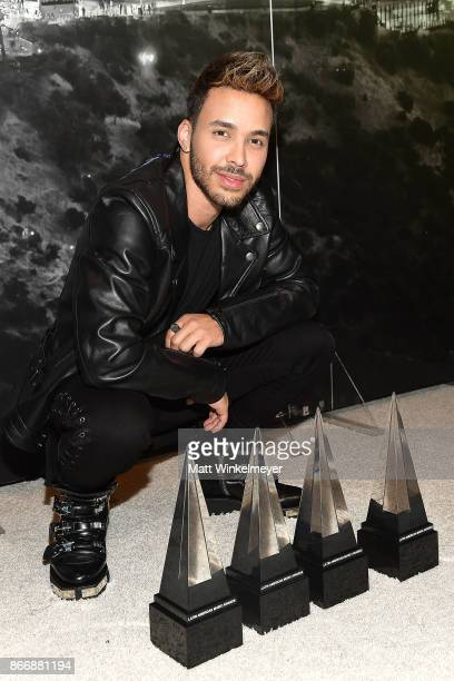 Geoffrey Royce Rojas aka Prince Royce poses with his awards during the 2017 Latin American Music Awards at Dolby Theatre on October 26 2017 in...