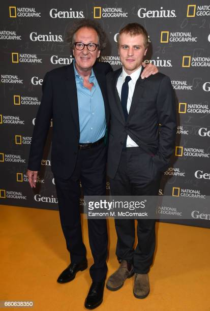 Geoffrey Rush and Johnny Flynn attend the London Premiere Screening for National Geographic's 'Genius' at Cineworld London on March 30 2017 in London...