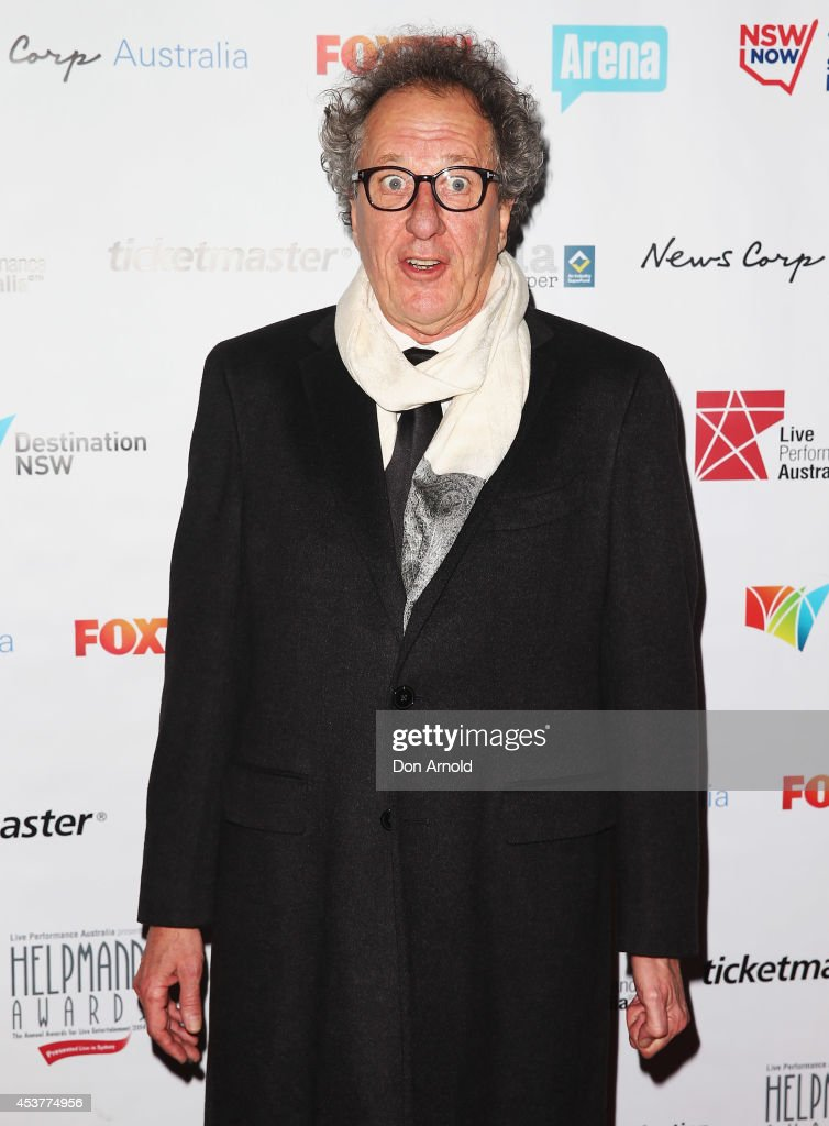 <a gi-track='captionPersonalityLinkClicked' href=/galleries/search?phrase=Geoffrey+Rush&family=editorial&specificpeople=201849 ng-click='$event.stopPropagation()'>Geoffrey Rush</a> arrives at the 2014 Helpmann Awards at the Capitol Theatre on August 18, 2014 in Sydney, Australia.