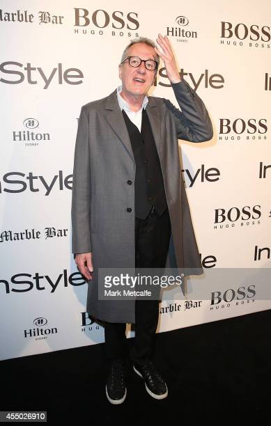 Geoffrey Rush arrives at the InStyle and Hugo Boss Men of Style Cocktail Party at Hilton Hotel on September 9 2014 in Sydney Australia