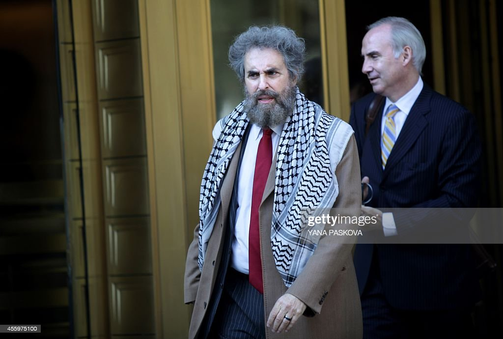Geoffrey Stewart and Stanley Cohen defense lawyers for Osama bin Laden's soninlaw and former AlQaeda spokesman Sulaiman Abu Ghaith leave the...