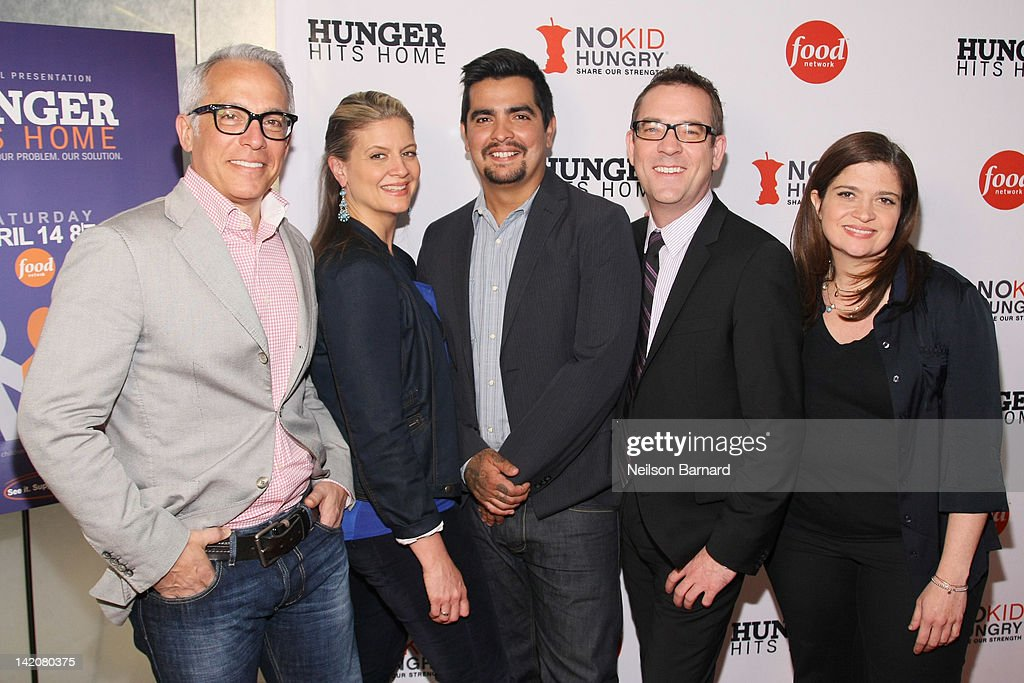 Geoffrey Zakarian, Amanda Freitag, <a gi-track='captionPersonalityLinkClicked' href=/galleries/search?phrase=Aaron+Sanchez+-+Chef&family=editorial&specificpeople=4478498 ng-click='$event.stopPropagation()'>Aaron Sanchez</a>, <a gi-track='captionPersonalityLinkClicked' href=/galleries/search?phrase=Ted+Allen&family=editorial&specificpeople=204146 ng-click='$event.stopPropagation()'>Ted Allen</a> and Alexandra Guarnaschelli attend the 'Hunger Hits Home' screening at the Hearst Screening Room on March 29, 2012 in New York City.