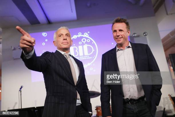 Geoffrey Zakarian and Marc Murphy speak onstage during City Harvest's 23rd Annual BID at Metropolitan Pavilion on October 19 2017 in New York City