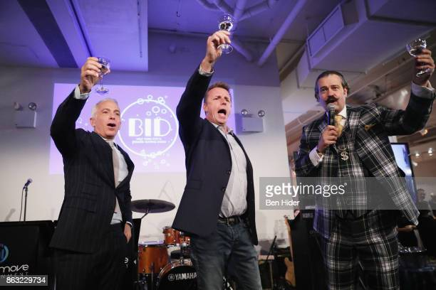 Geoffrey Zakarian Marc Murphy and Nicho Lowry speak onstage during City Harvest's 23rd Annual BID at Metropolitan Pavilion on October 19 2017 in New...