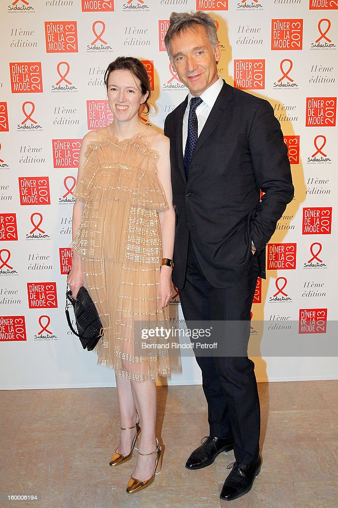 Geoffroy de la Bourdonnaye (R) and guest attend the Sidaction Gala Dinner 2013 at Pavillon d'Armenonville on January 24, 2013 in Paris, France.