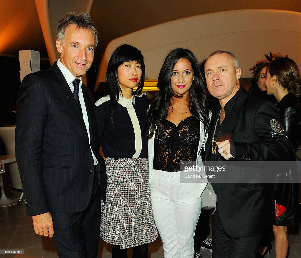Geoffroy de la Bourdonnaye, Mimi Xu, Roxie Nafousie and <a gi-track='captionPersonalityLinkClicked' href=/galleries/search?phrase=Damien+Hirst&family=editorial&specificpeople=215142 ng-click='$event.stopPropagation()'>Damien Hirst</a> attend a cocktail party to Celebrate the Launch of the Book 'Chloe Attitudes' hosted by Sarah Mower and Marc Ascoli at Freer and Sackler Gallery on October 17, 2013 in London, England.