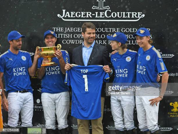Geoffroy Lefebvre celebrates with Facundo Pieres Gonzalito Pieres Hugo Taylor and Jimbo Fewster of King Power Foxes at the JaegerLeCoultre Gold Cup...