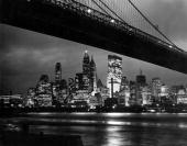 Geography New York City USA North America A spectacular panoramic view of the New York skyline and Brooklyn Bridge by night with the illuminated...