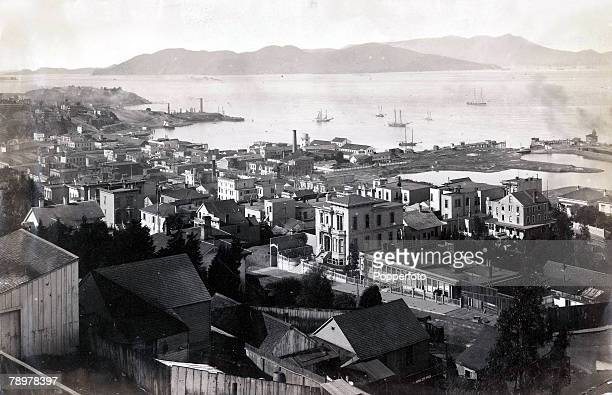 Geography San Francisco California USA Circa 1880's An aerial view from Telegraph Hill showing the waterfront in the background and residential...