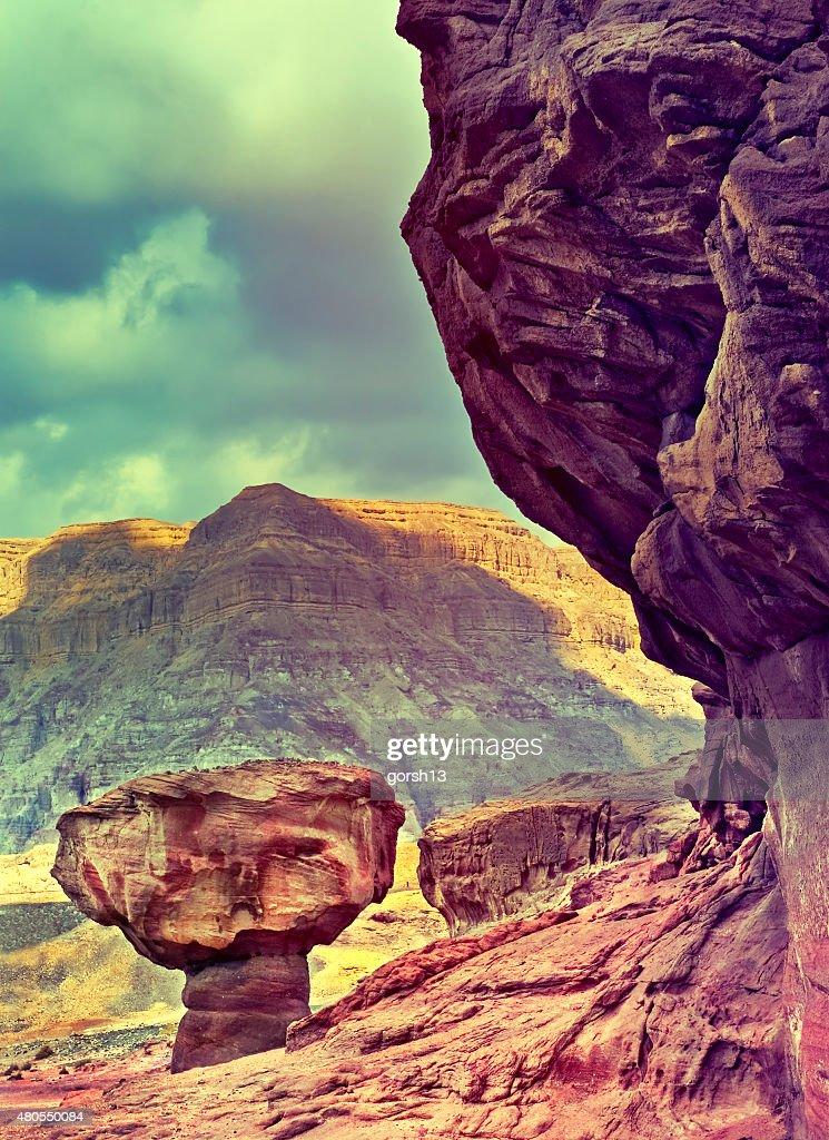 Geológico formação no Parque do deserto de Timna, o Arava vale, Israel : Foto de stock