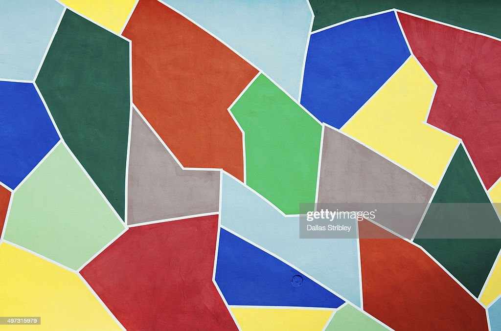 Geometric colourful painted wall of disco : Stock Photo