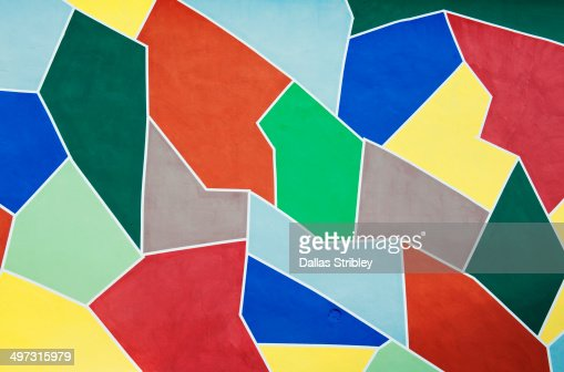 Geometric colourful painted wall of disco