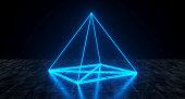 Geometric Futuristic Sci-fi Neon Primitive Pyramid Light On Dark Grunge Concrete Surface 3D Rendering Illustration