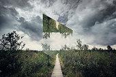 path in nature. Geometric landscape concept.