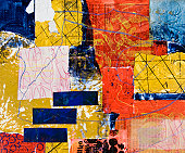 Geometric painted collage with rectangles