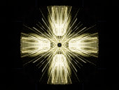 A geometric pattern of a group of light rays