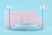 3d rendering colorful pastel background geometric shape abstract still life scene, podium concept, cylinder shapes.
