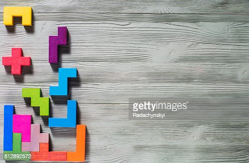 Geometric shapes on a wooden background. : Stock Photo