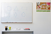 Geometric shapes on classroom whiteboard