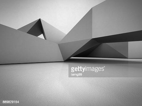 Structure de formes géométriques sur le sol en béton avec fond de mur gris vide dans la salle ou salle d'exposition moderne, technologie de Construction pour la future architecture - illustration 3d abstrait design d'intérieur : Photo
