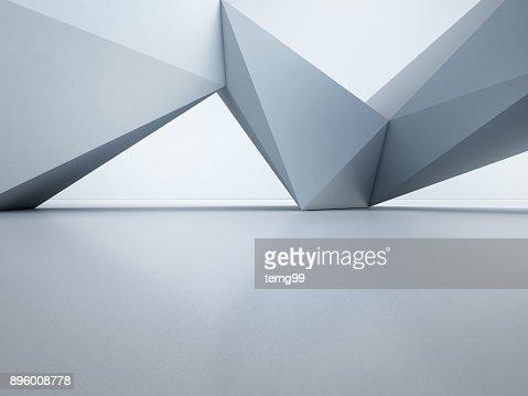 홀 또는 현대 쇼 룸, 미래 건축-추상 인테리어 디자인의 3d 그림에 대 한 건설 기술에 흰색 벽 배경과 빈 콘크리트 바닥에 기 하 도형 구조 : 스톡 사진