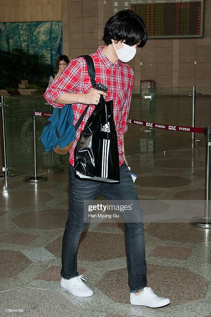 Geonil of South Korean boy band Choshinsung is seen on departure at Gimpo International Airport on August 30, 2013 in Seoul, South Korea.