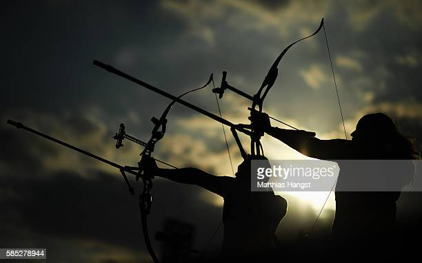 GeorcyStephanie Thiffeault Picard of Canada in action during a training session at the Sambodromo Olympic Archery venue on August 2 2016 in Rio de...