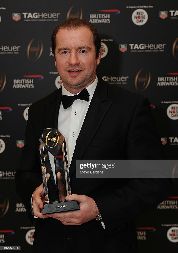 Geordan Murphy is inducted into the Hall of Fame during the inaugural Premiership Rugby Hall of Fame Ball at the Hurlingham Club on February 7, 2013 in London, England.